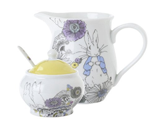 Peter Rabbit Contemporary Porcelain Creamer & Sugar Bowl Set by Stow Green Porcelain Creamer
