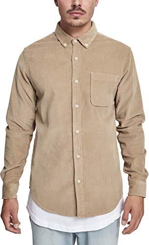 Urban Classics Herren Corduroy Shirt Freizeithemd, Sand, L