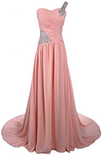 Sunvary A-Line abiti da sera elegante e formale una Shoudler Chiffon Prom Gowns lunga con varietà di cristallo di rocca Light Watermelon