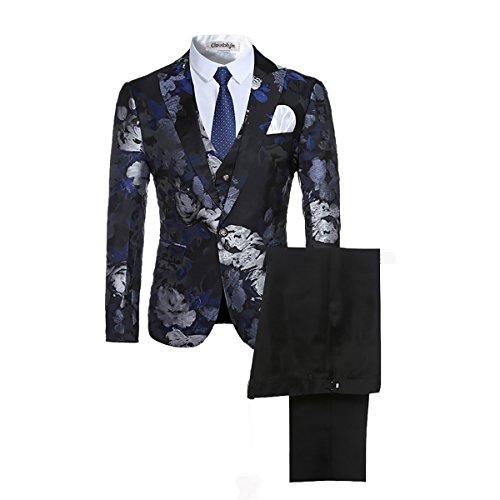 Allthemen tuta da uomo 3 pezzi tuta aderente con risvolto risvolto con stampa floreale monopetto moderno giacca giacca gilet imposta pantaloni