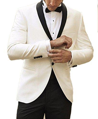 Slim Kostüm Homme Mariage - TPSAADE Elfenbein-Hochzeits-Anzug-Smoking für Mann-Groomsmen-formale zwei Knopf-Männer Klage mit schwarzer Hose (Jacke + Hosen + Bindung) (M)