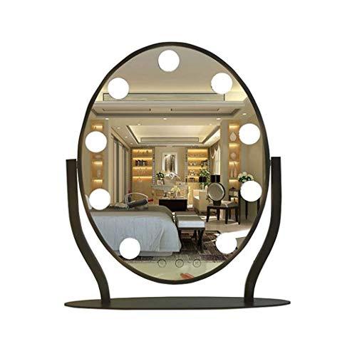 Mirror Hollywood Kosmetikspiegel mit 9 dimmbaren LED-Glühbirnen, Rasierspiegel for Badezimmer mit großer Beleuchtung |Schminkspiegel |Schwarze dekorative Spiegel LITL