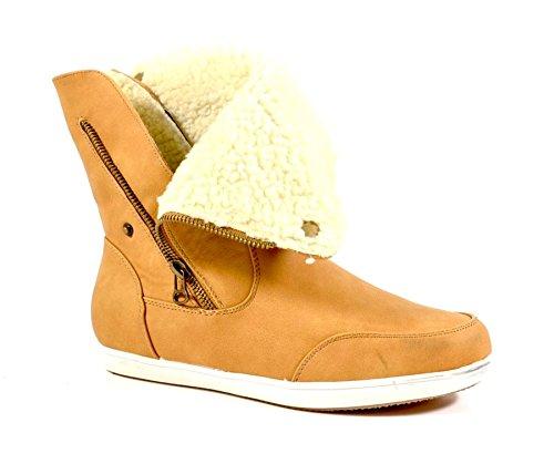 Re Delle Scarpe Stivali Da Donna Stivali Flat Slip Stivali Cerniera B854 Cammello Caldo Foderato