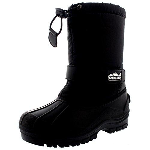 Unisex Kinder Pull On Drawstring Schliessen Nylon Winter Schnee Regen Pelz Stiefel - Schwarz - BLK30 AYC0154 (Schuhe Karibu)