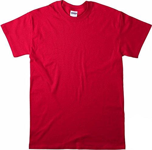 Gildan Ultra Cotton Pullover (Ultra Cotton Herren Basic Elegantes Shirt Tops Kurzarm T-Shirt Sommer Bluse Shirt Kleidung Kurzer Sweatshirt Fashion Tee Kurzarmshirt Kurzaermeliges T-Shirt aus Baumwolle mit Rundhalsausschnitt Rot-XL)