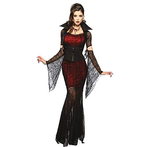 Fashion-Cos1 Sexy Frau Vampir Langes Kleid Cosplay Kostüme Gothic Vampir Hexe Outfit Die Königin Vampir Rollenspiel Kleidung (Frau Alte Make-up Kostüm)