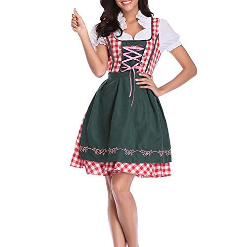 ge Oktoberfest Maid Kostüm Kleid Halloween Cosplay Bluse Trachtenkleid Bayerisches Bier Festival Tavern Kleid Clubkleidung (Grün,Large) ()