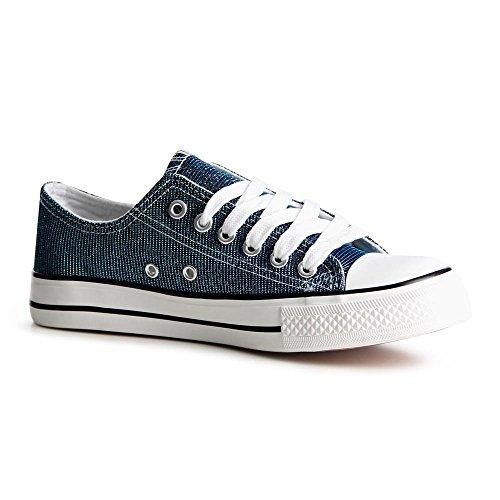 topschuhe24789Femme Sneaker Chaussures de sport Bleu - Bleu