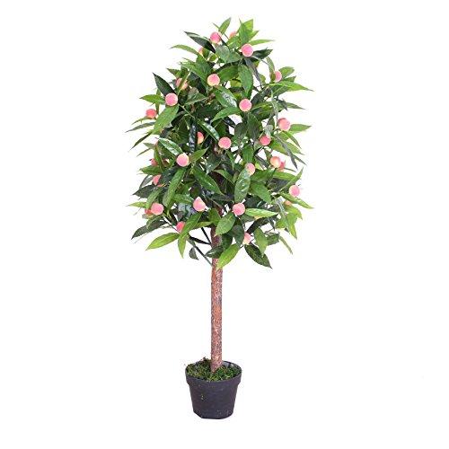 PASAMO 07733 Pfirsichbaum 120 cm Künstliche Pflanze mit Echtholzstamm