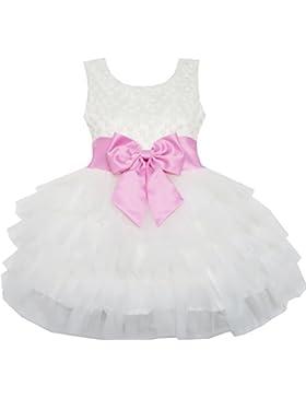 Sunny Fashion - Vestito tinta unita, bambina, bianco