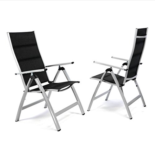 Nexos ZGC34480_SL02 2er Set Deluxe Klappstuhl gepolstert - Textilene Creme/Rahmen dunkelgrau - Gartenstuhl Liegestuhl - klappbarer Stuhl aus Aluminium & Kunststoff, Schwarz