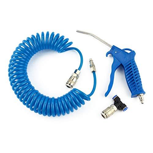Pistolet de pulvérisation d'air pour voiture avec 5m de tuyau enroulé pour souffleuse de poussière de nettoyeur de buse de nettoyage Kit de pulvérisation de pistolet de pulvérisation Nettoyage (couleur: bleu)