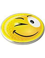 YELLOW SMILEY WINK GOLF BALL MARKER. BY ASBRI GOLF