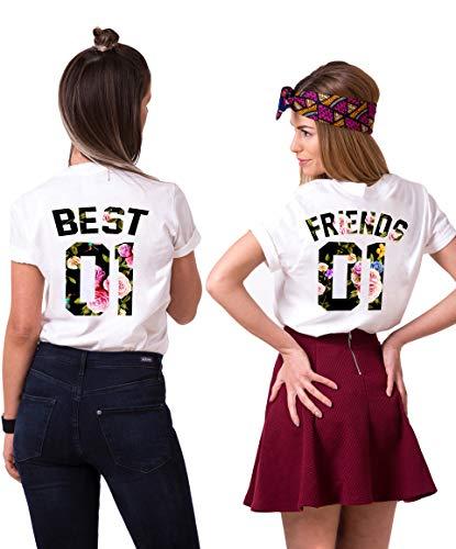 Best Friends T-Shirts für 2 Mädchen Sister Aufdruck - Sommer Oberteile Set für Zwei Damen - Beste Freunde Freundin BFF Geburtstagsgeschenk (Flower, Best-S + Friends-XS)
