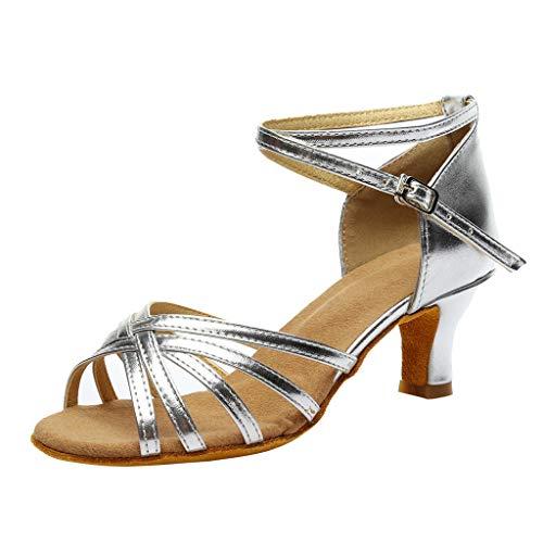 ühlingsankunft, Mode Frauen Farbe Mode Rumba Walzer Prom Ballroom hochhackige Kreuzgurt Schnalle Latin Salsa Tanzschuhe Sandalen (39 EU, Silber) ()