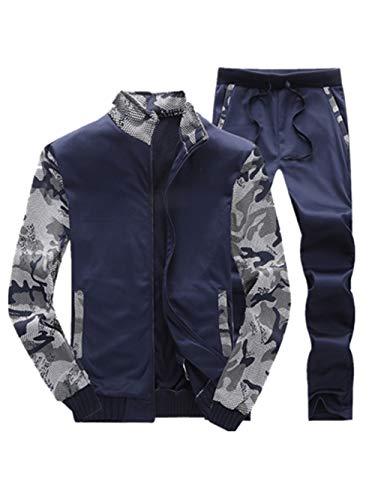 Hommes SurvêTement Sweat-Shirt Sport Molletonné Pantalons Manteau Hiver Autumne Casual Sweatshirt Sport Pullover Blouse Blouson Pardessus Marine XL