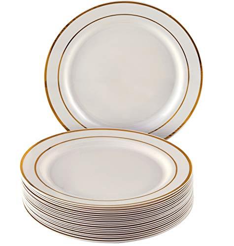 Juego de vajilla desechable para fiesta, plástico, Gold/Ivory, Side Plates