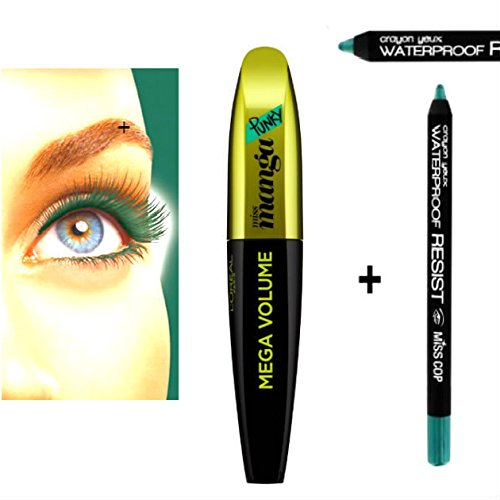 Kit Mascara Volume Curling pestañas Amplifies verde + lápiz impermeable verde