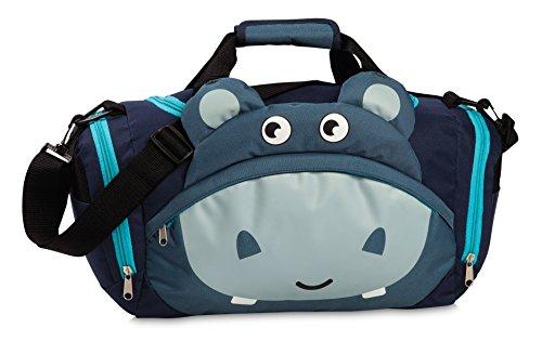 Fabrizio Kindertasche Sporttasche Reisetasche Nilpferd, Jungen Mädchen Kinder, blau, 39 x 25 x 20 cm