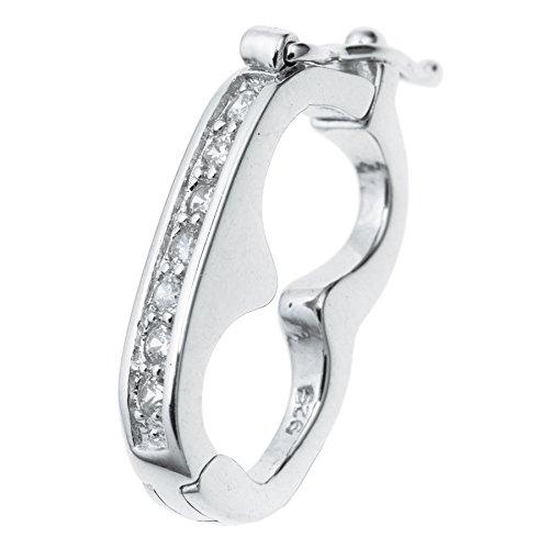 rling Silber CZ Kristall Anschluss Pearl Halskette Shortener Enhancer Verschluss 19mm ()