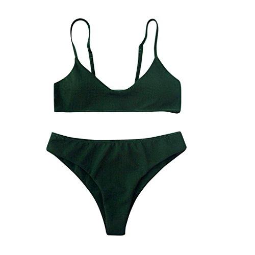 Damen Bademode,Resplend Frau Mode Elegant Versuchung Badeanzug Bikini-Set Push Up Bikini Bralette Freche Bikini Bottom Badeanzug Sling Bikini Bademode (Armeegrün, S) (Badeanzug Bikini Mode)