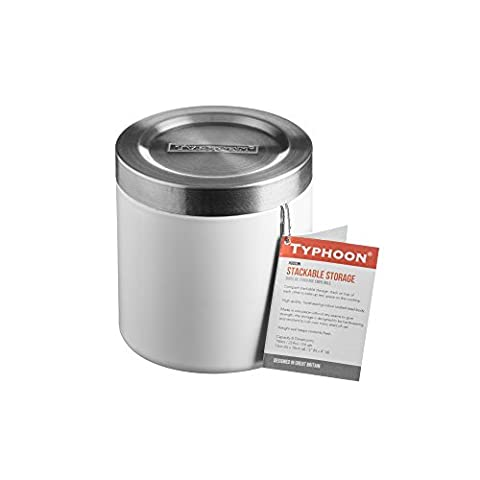 Typhoon Hudson Stacking Kitchen Storage Canister, Stainless Steel, White, 11 cm