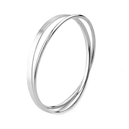 Merdia S990 silbernes rundes und flaches verdrehtes Armband für Frauen 7cm