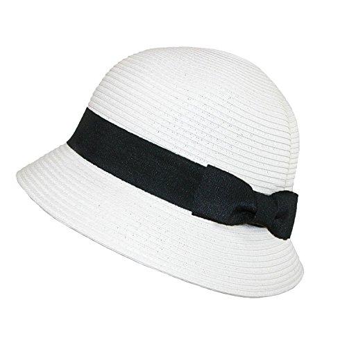 5b0e542ff1422 Jeanne Simmons Trenzado de Papel de la Mujer Verano Sol Sombrero Cloche -  Blanco -