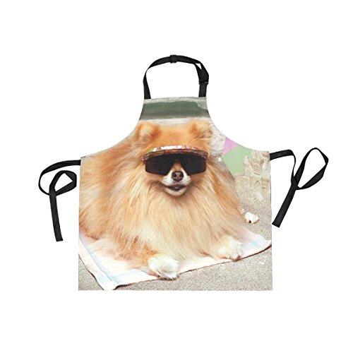 XiangHeFu Lätzchen Schürzen mit 2Taschen Hund Sonnenbrille Liegend auf Strandtuch 69,8x 73,7cm verstellbares Umhängeband für Männer Frauen Kochen Backen Chef Küche