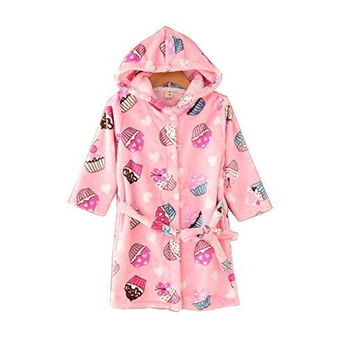 JZLPIN Kleinkind Bademantel Baby Mit Kapuze Morgenmantel Flanell Roben Kinder Pyjama Nachtwäsche EIS 120cm/4T (4t Kleinkind Robe)