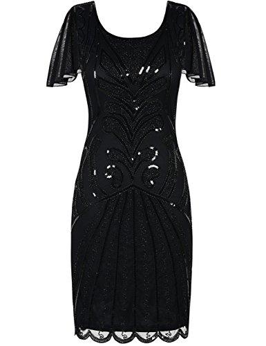 Kayamiya 1920er Jahre Flapper Kleider mit Ärmeln Pailletten Art Deco Cocktail Gatsby Kleid 36-38 Schwarz