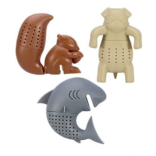 OUNONA 3 stücke Silikon Tee Filter / Tee-ei / Tee Filter / Tee Handschuhe Tier Shap Infuser Spice Filter Herbal, Shark Eichhörnchen Pug