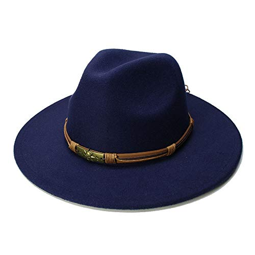 Ying xinguang Frauen Männer Wolle Vintage Gangster Trilby fühlte Fedora Hut mit breiter Krempe Gentleman Elegante Dame Winter Jazz Caps ! (Farbe : Dunkelblau, Größe : 56-58cm)