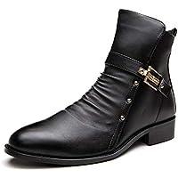 Wanlianer Bota de Hombre Botas de Tobillo Casual Zapatos Exteriores de Hombre Occidental con Punta Estrecha Transpirable (24cm-27cm) Invierno (Color : Negro, tamaño : 41 1/3 EU)