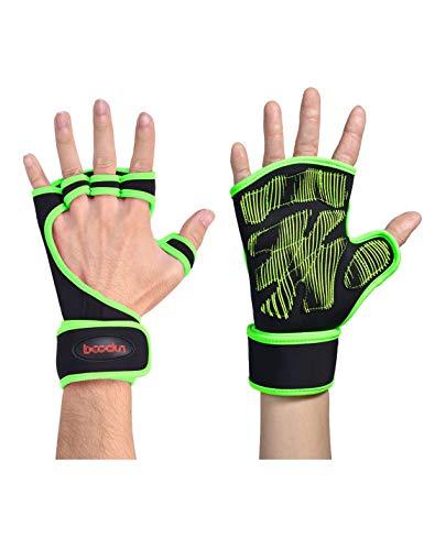 WYSTAO Outdoor-Sport halbe Fingerhandschuhe zurück Hohle Armbänder Männer und Frauen Paare Gewichtheben Hanteln atmungsaktive horizontale Bar Parallel Bars Fitness Handschuhe (Farbe : L)