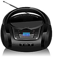 LONPOO Radio Portatili Boombox, Lettore CD MP3 Portatili con USB, AUX IN, FM Radio, Bluetooth e Jack per Microfono