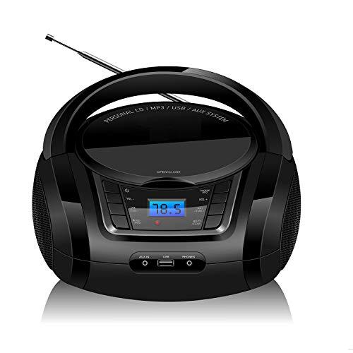 LONPOO Lecteur CD Portables Radio FM Portable Boombox, Lecteur MP3 / CD Bluetooth avec Entrée...