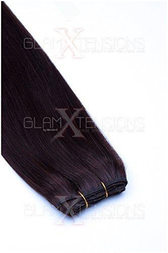 (Weft Echthaartresse glatt 100% indisches Echthaar 60cm Haarverlängerung Extensions)