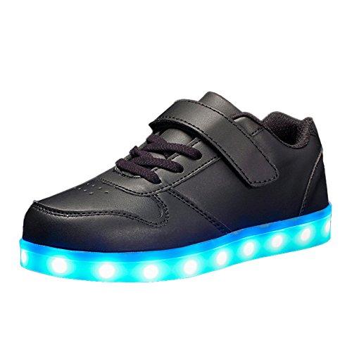 VOOVIX Kinder Schuhe mit Licht Led Leuchtende Blinkende Low-top Sneaker USB Aufladen Shoes für Mädchen und (Mit Kinder Schuhe Licht)