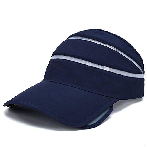SLBGADIEME Quick Dry Lightweight Soft Comfortable Visor Cap Blank Sun Fishing Hat Sports Baseball Cap(Many Different Colors and Styles)(Empty top Navy)