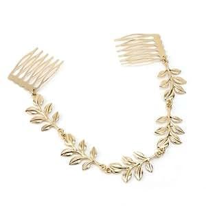 Pinzhi® Fashion Shiny Gold Leaves Chain Fringe Tassel Hair Comb Cuff Women Head Hairband