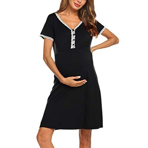 Camicia da notte premaman vestito da maternità donna abito di maternità abito scollo a v a maniche corte elegante