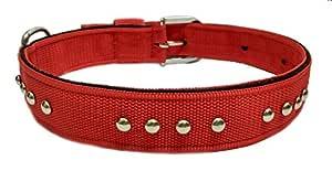 Sollar's Stud Durable Dog Collar Dog Belt, Red, Extra Large