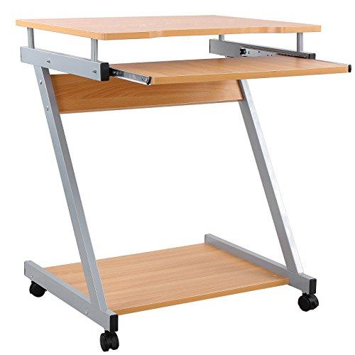 VASAGLE Schreibtisch, Computertisch mit 4 Rollen, 2 davon mit Bremsen, PC-Tisch leichtgängiger Tastaturauszug, erleichterte Montage, platzsparender PC-Tisch in Z-Form, 60 x 73 x 48 cm (B/H/T), Buchefarben LCD811R
