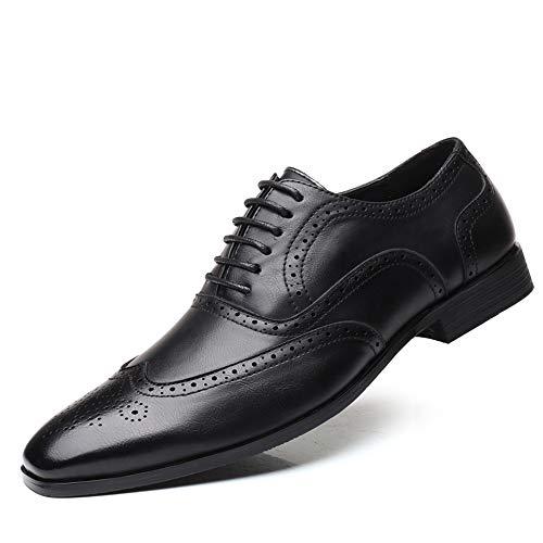 Anzugschuhe Business Herren, Lederschuhe Oxford Schnürhalbschuhe Brogue Geschäft PU Leder Derby Hochzeit Mokassin Schwarz 38 EU