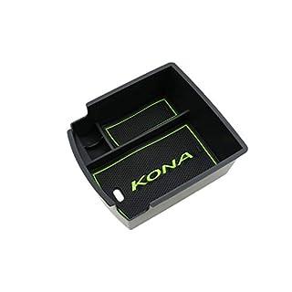 RUIYA Central Console Armlehne Box angepasst für 2018 Hyundai Kona(Benzin- und Dieselmodell), Aufbewahrungsbox Console Organizer Insert Tray, Autozubehör (Grün)