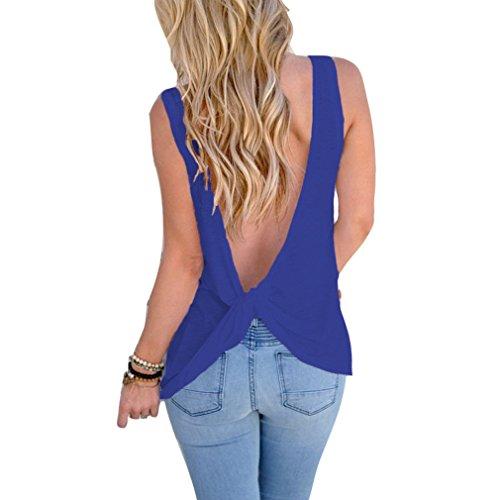 Fliegend Top Mujer Sin Mangas Camiseta Sin Espalda Blusa Cuello Redondo de Color Sólido Camisa Suelta Blusas Sexy Suave Cómodo Vino Azul M