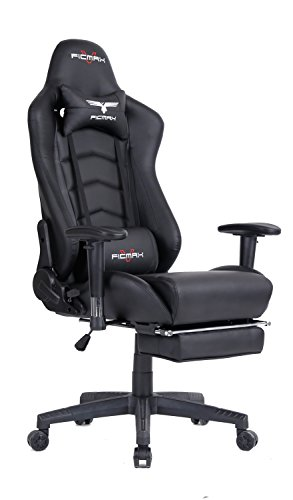 Ficmax Groß Bürostuhl, Gaming Stuhl, Schreibtischstuhl, Chefsessel mit Massagefunktion und Verstellbar Fußstütze, PVC - schwarz