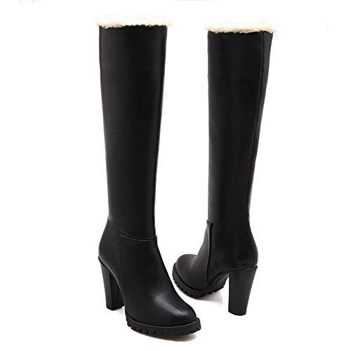 VogueZone009 Damen Hoher Absatz Blend-Materialien Knie Hohe Reißverschluss Stiefel Schwarz