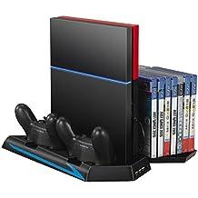 Ventilador de PS4, Rixow Soporte Vertical con Carga Emisora con dos Ventiladores Sinlenciosos de Refrigeración para Playstation 4, con 3 Puertos de USB y Cabe 14 Discos de Juego, Negro.